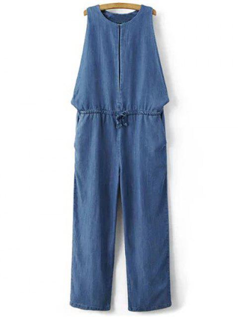 women's Drop Armhole Denim Jumpsuit - BLUE L Mobile