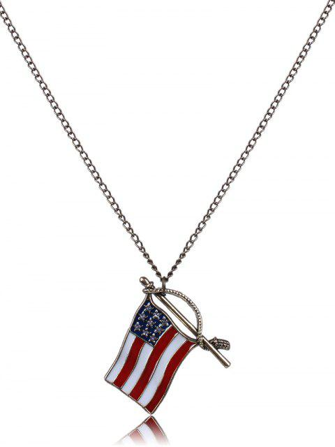 shops American Flag Oil Drip Necklace - BRONZE-COLORED  Mobile