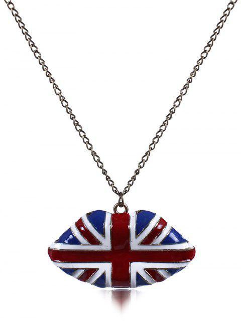 latest England Flag Lip Oil Drip Necklace - BLUE  Mobile