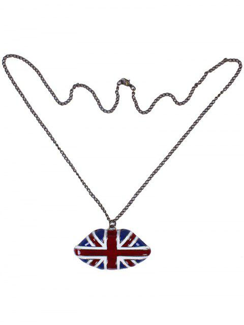 latest England Flag Lip Oil Drip Necklace -   Mobile