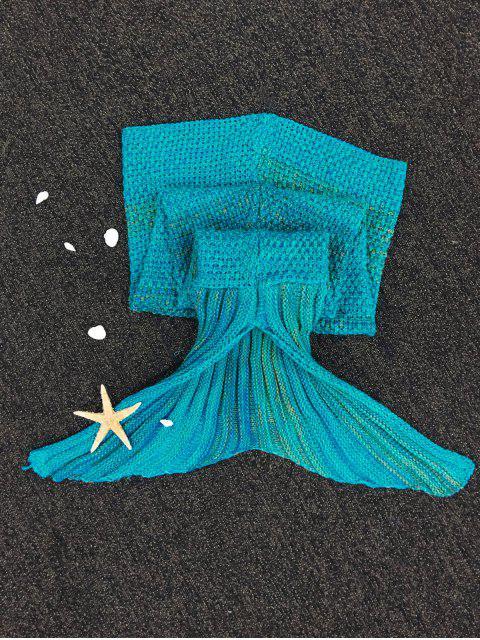 online Stripe Knitted Mermaid Tail Blanket - BLUE  Mobile