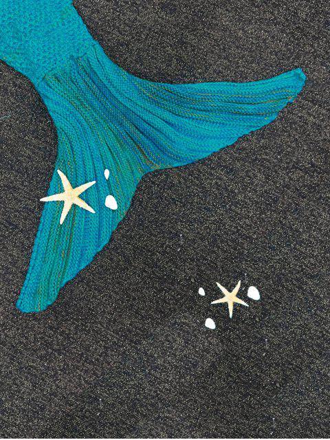 Couverture tricotée rayée forme de sirène - Bleu  Mobile