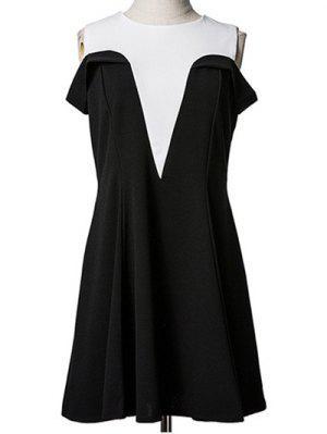 Cold Shoulder épissage Faux Twinset Robe - Noir M