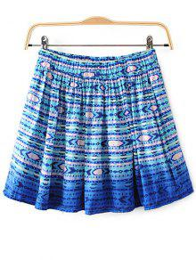 Printed Flounce Skirt - Blue L