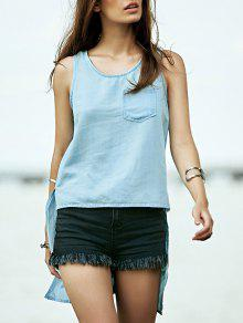 Buy High Low Scoop Neck Denim Tank Top - AZURE M