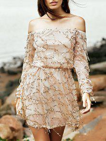 Sequins Off The Shoulder Long Sleeve Dress