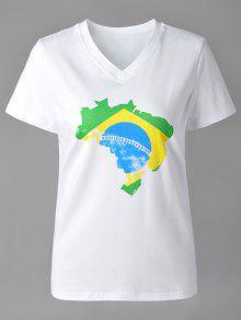 Casual V-Neck Carte Imprimer Manches Courtes T-shirt Pour Les Femmes - Blanc S