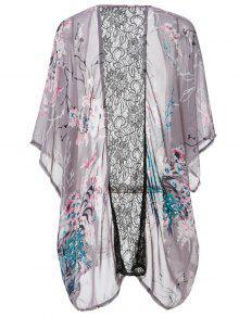 Collarless Floral Print Kimono Blouse - Pink M