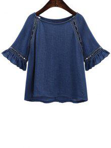 Buy Hollow Butterfly Sleeve Solid Color T-Shirt - DEEP BLUE L