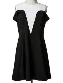 Spliced Cold Shoulder Faux Twinset Dress - Black M