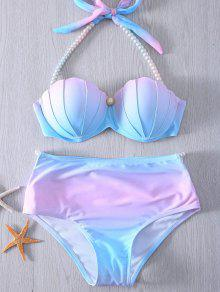 Pearl Halter Ombre Underwire Seashell Bikini - Blue And Pink L
