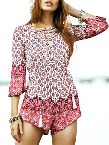 Lace-Up Ethnic Pattern Playsuit - L