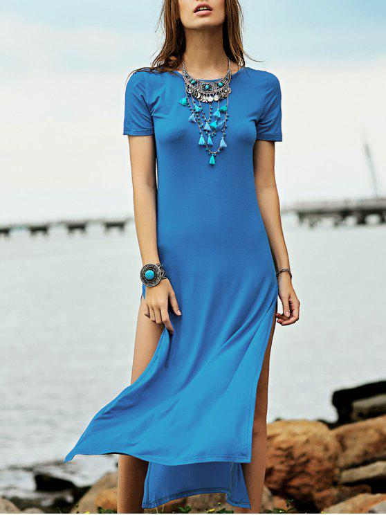 best High Slit Round Neck Short Sleeve Maxi Dress - LAKE BLUE XS