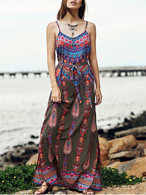 Vintage impresión Cami Side Vestido largo de la raja - Colormix L
