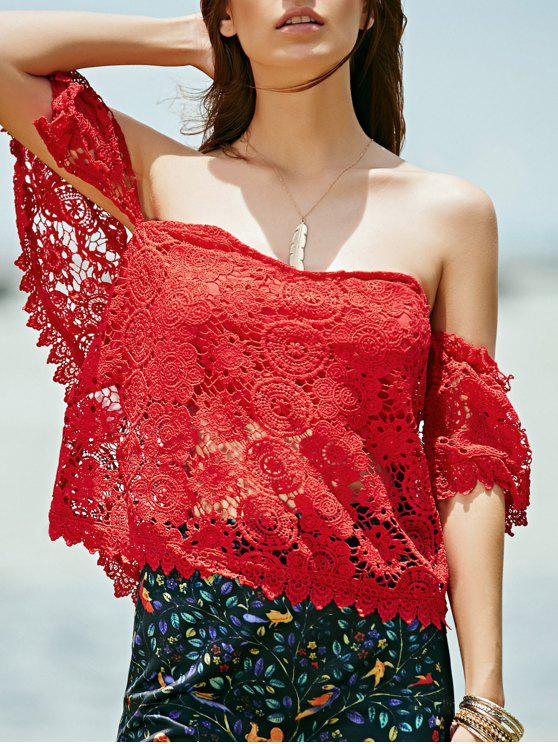 chic Off Shoulder Red Lace Top - RED M