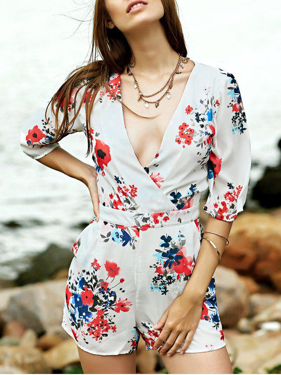 affordable Sweet Flower Print Plunging Neck Half Sleeve Romper - WHITE S