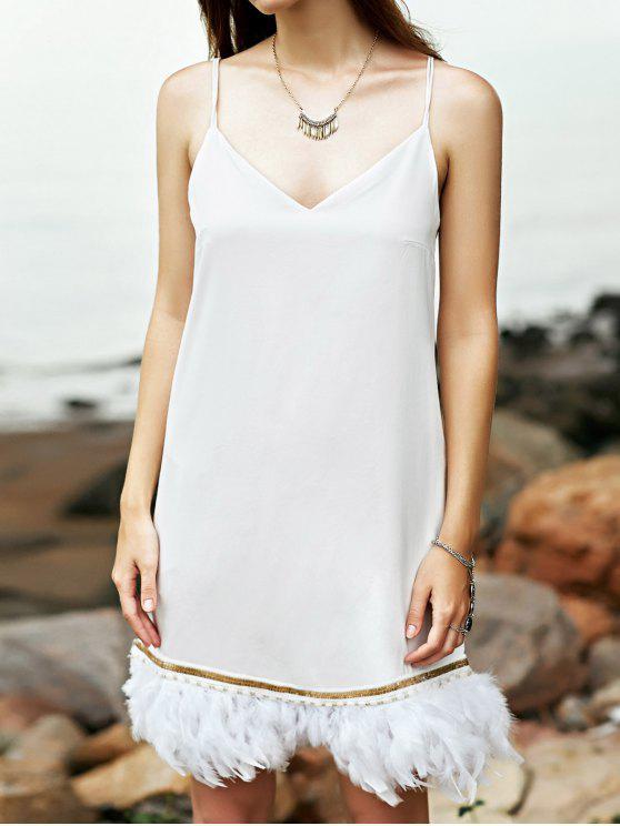 affordable White Cami Fringe Dress - WHITE S