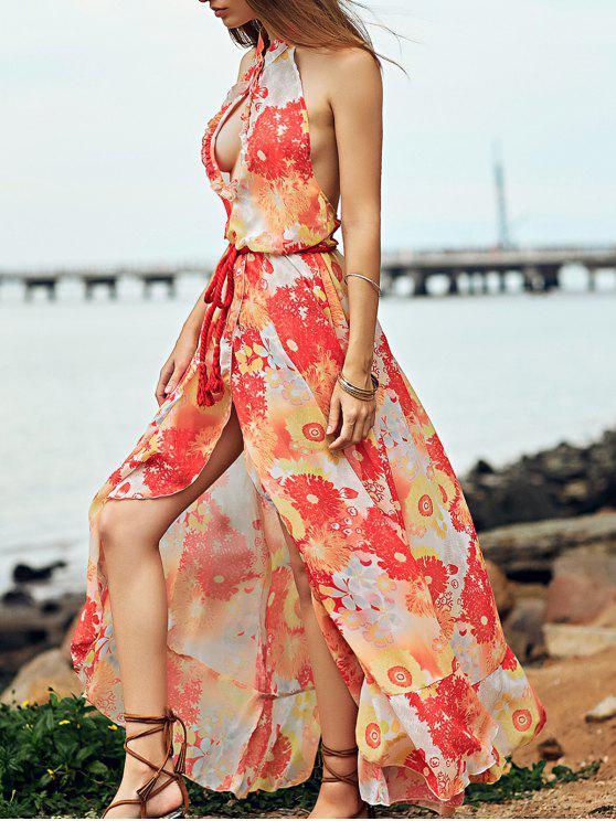 فستان طويل بالطبع و الياقة المنتصبة و المتن العار - الأصفر XL