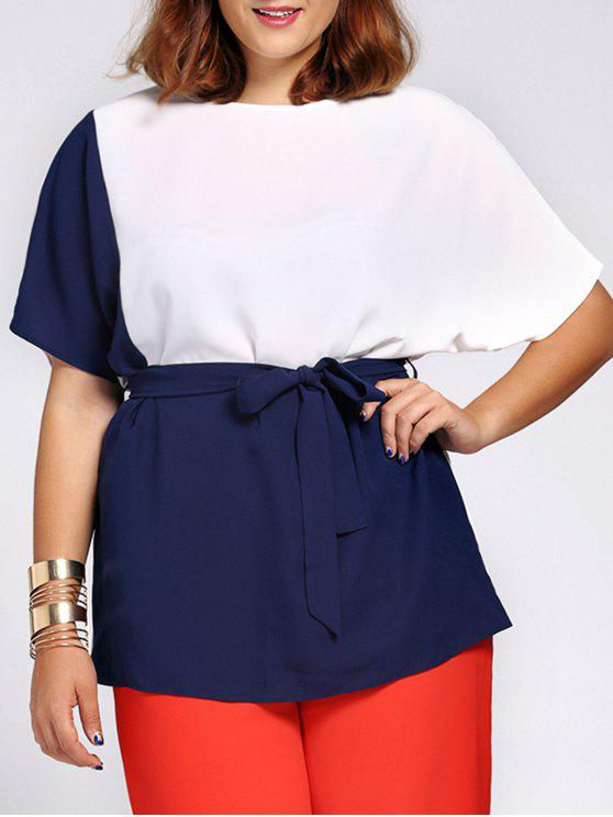 fashion Chic Short Sleeve Color Block Waist Tied Plus Size Blouse For Women - COLORMIX 4XL