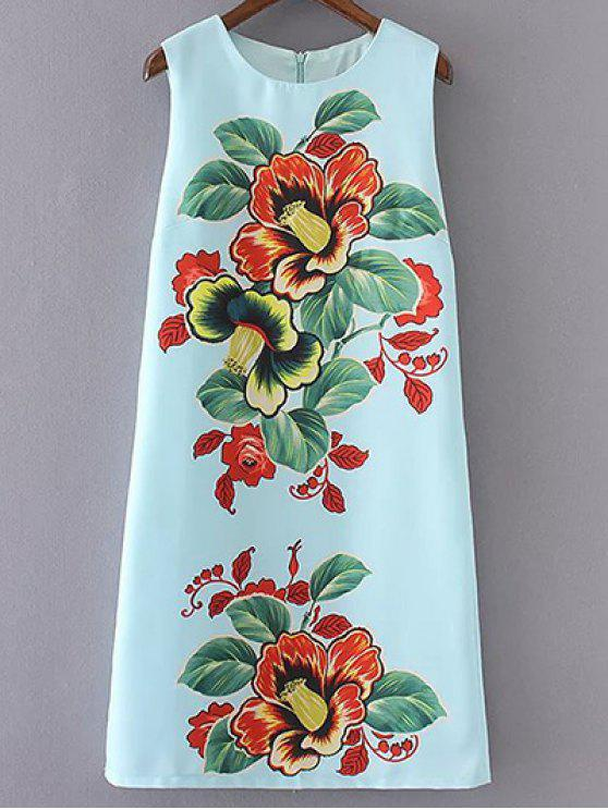 ladies Sleeveless Floral Print Round Neck Dress - LIGHT BLUE L