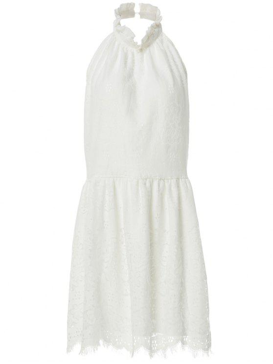 Robe blanche à dos nu et à col rond  sans manches avec des dentelles - Blanc L