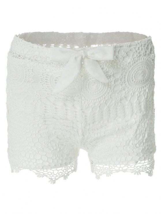 best Solid Color Lace Tie-Up Shorts - WHITE M