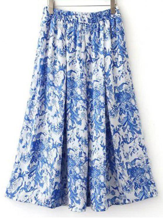 women Print High Waisted Pockets Midi Skirt - COLORMIX S