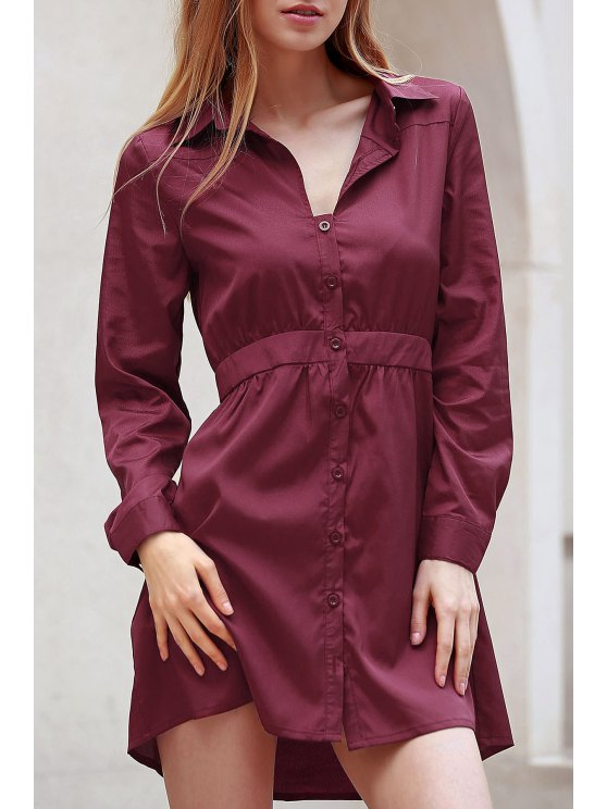 hot Wine Red Turn Down Collar Long Sleeve Dress - WINE RED M