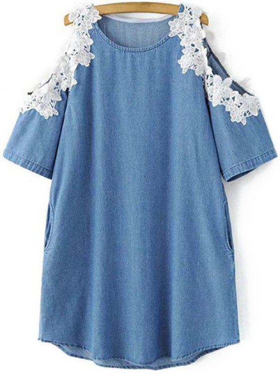 best Cold Shoulder Round Neck Lacing Spliced Dress - ICE BLUE L