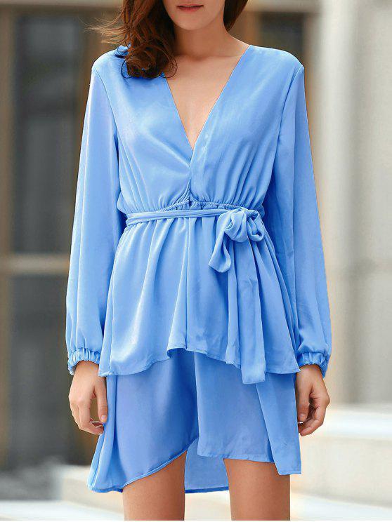 unique Plunging Neck Flirty Ruffle Chiffon Dress - LIGHT BLUE S