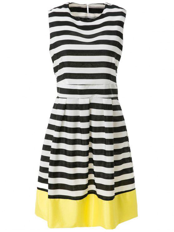 affordable Stripe Spliced A Line Sundress - STRIPE L