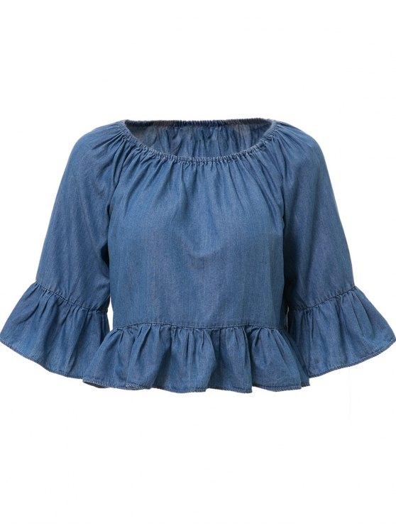 hot Slash Neck Bleach Wash Founce 3/4 Sleeve T-Shirt - ICE BLUE S