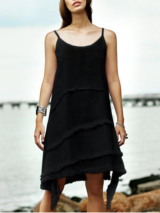 ladies Fringe Irregular Hem Cami Sleeveless Dress - BLACK M