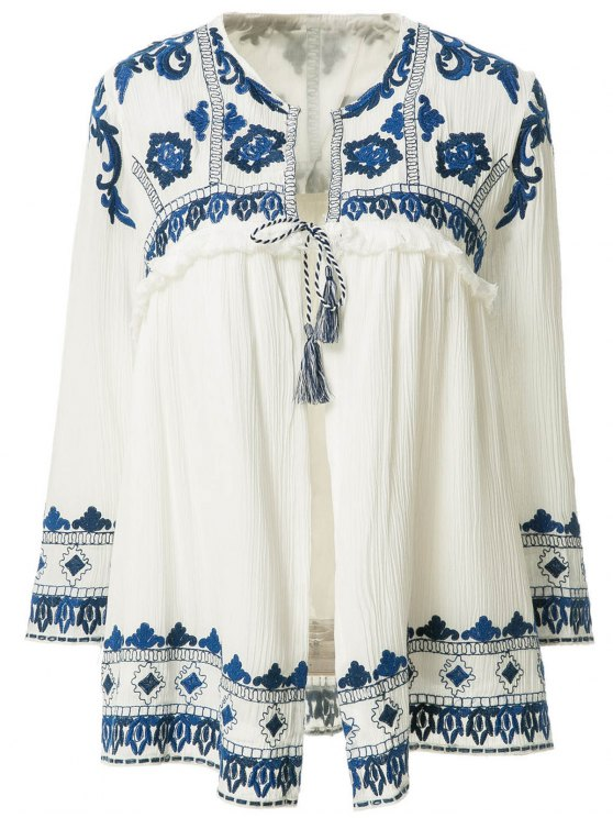 outfits Blue Floral Embroidery Tie-Up Long Sleeve Coat - WHITE S