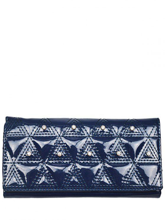 Rhinestone Stitching Patent Leather Wallet - Bleu Foncé