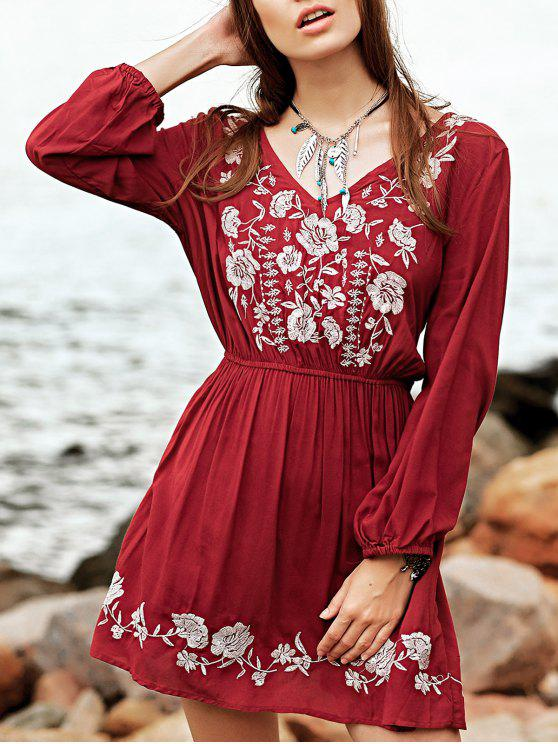 outfit Embroidery Plunging Neck Flare Sleeve Dress - WINE RED S