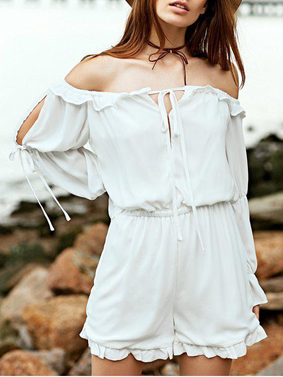 shop Off The Shoulder White Long Sleeve Chiffon Romper - WHITE L