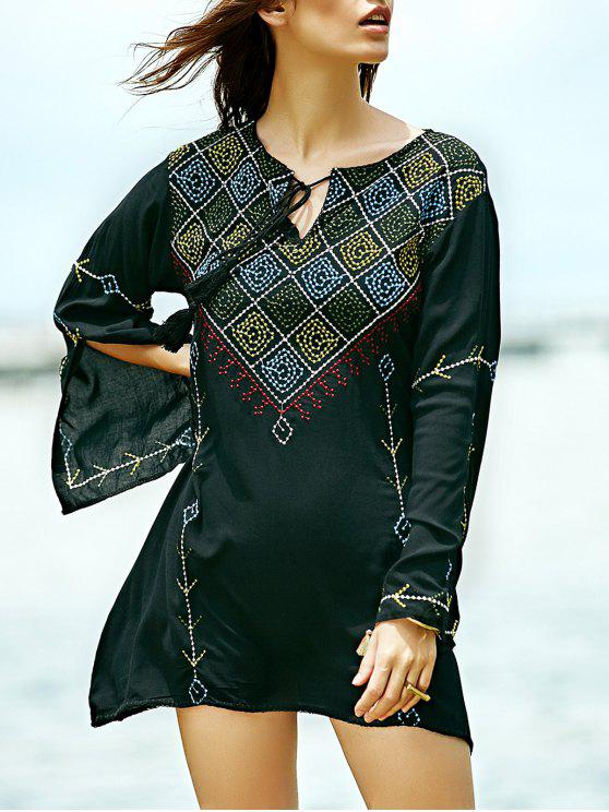 womens Embroidered Check Blouse - BLACK M