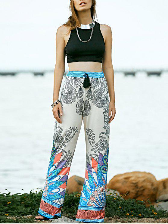 Negro de cuello redondo y mangas Impreso pantalones de cintura alta - Negro M