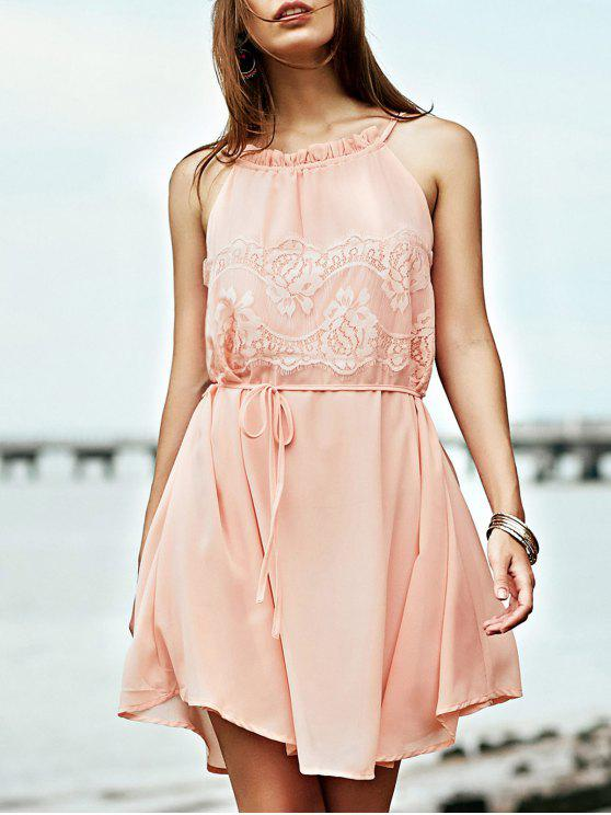 online Lace Splice Round Collar Sleeveless Dress - LIGHT PINK L