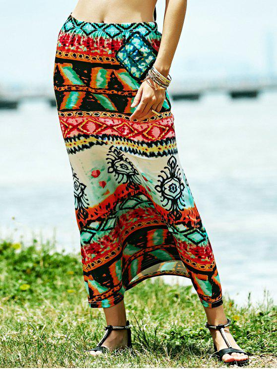 best Fitted Ethnic Print High Waist Skirt - COLORMIX S