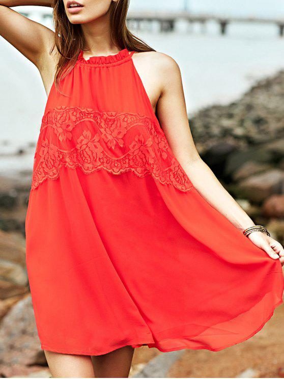 shop Lace Splice Round Collar Sleeveless Dress - RED S