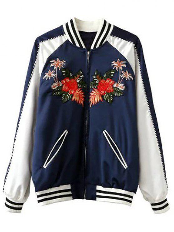 ladies Floral Embroidered Baseball Jacket - BLUE AND WHITE S