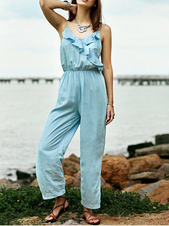 Combinaison camisole bleue claire en denim à volants - Bleu clair M
