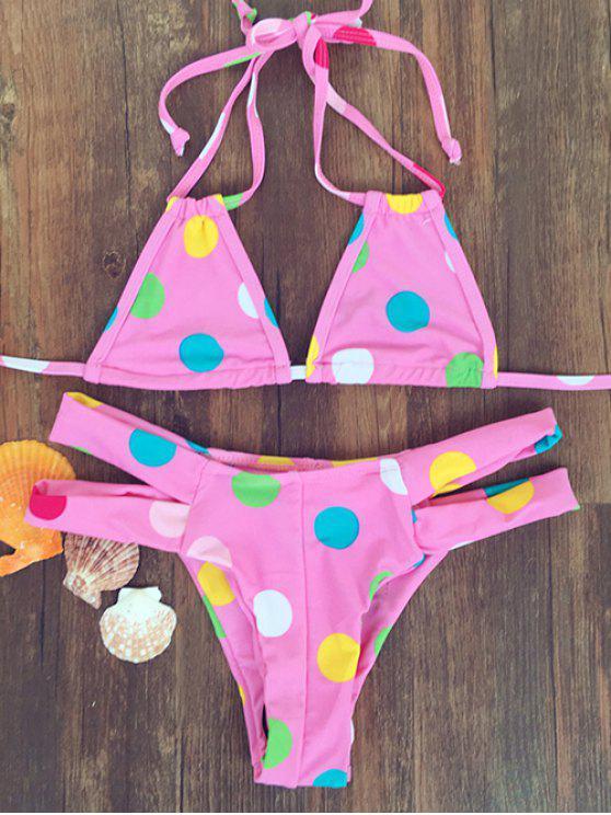 fashion Polka Dot Halter Bandage Bikini Set - PINK S