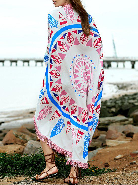 affordable Feather Print Convertible Round Shape Cape Cover Up - COLORMIX ONE SIZE(FIT SIZE XS TO M)