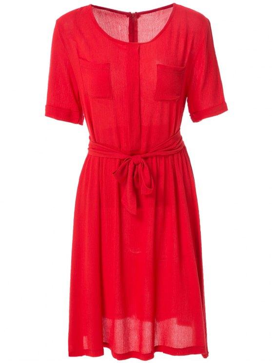 women Solid Color Elastic Waist Belt Short Sleeve Dress - RED S