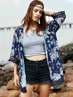 Kimono Blouse Cardigan Imprimé Patchwork En Dentelle - Xl