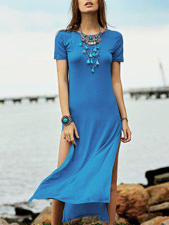 High Slit Round Neck Short Sleeve Maxi Dress - Lake Blue Xs