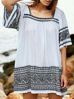 Embroidered Babydoll Tunic Dress - White S